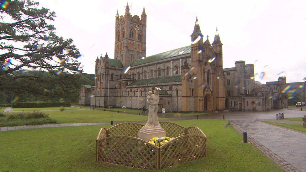 Statue in front of Buckfast Abbey