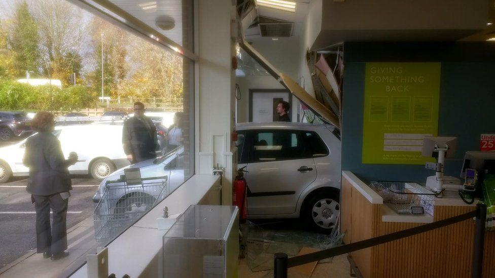 Car into Waitrose at Lewes