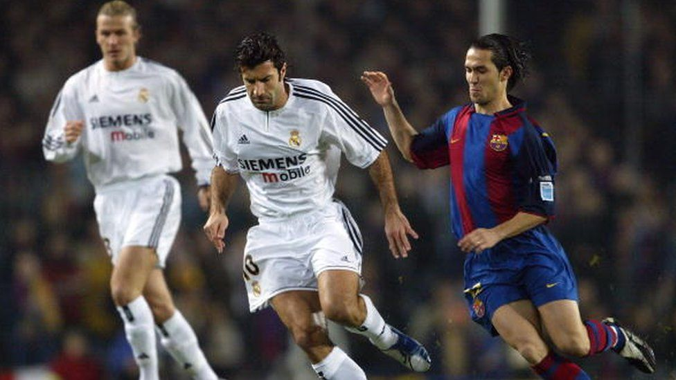 Luis Figo playing for Real Madrid