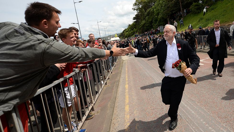 Britain's main opposition Labour Party leader Jeremy Corbyn greets supporters as he leaves after attending a campaign visit in Colwyn Bay, north Wales on June 7, 2017, on the eve of the general election.