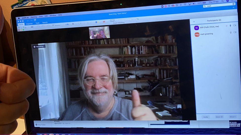 Matt Groening on Zoom call