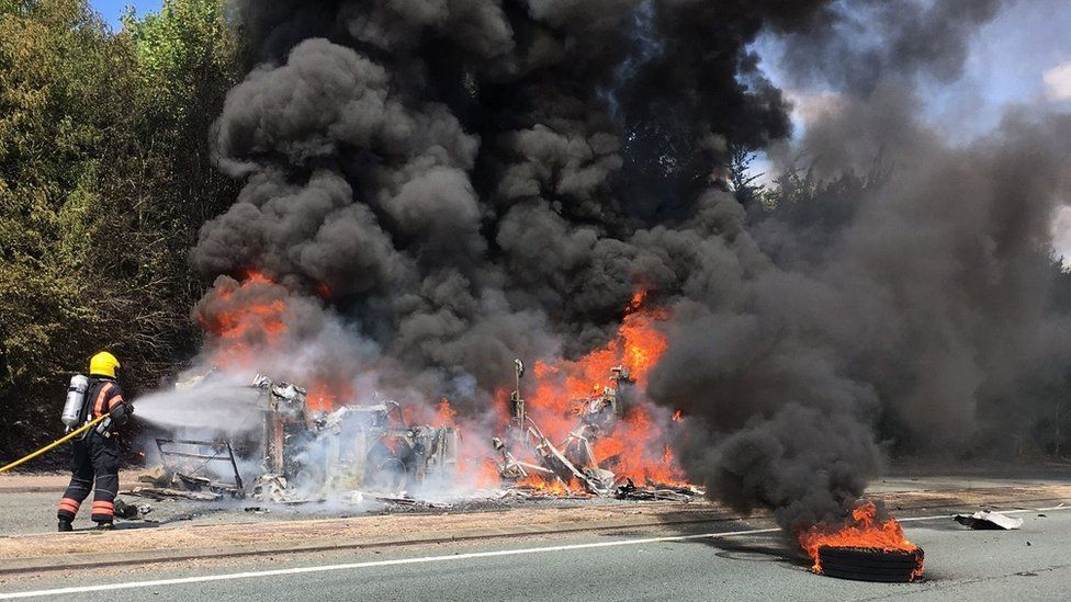 Bus fire on A11