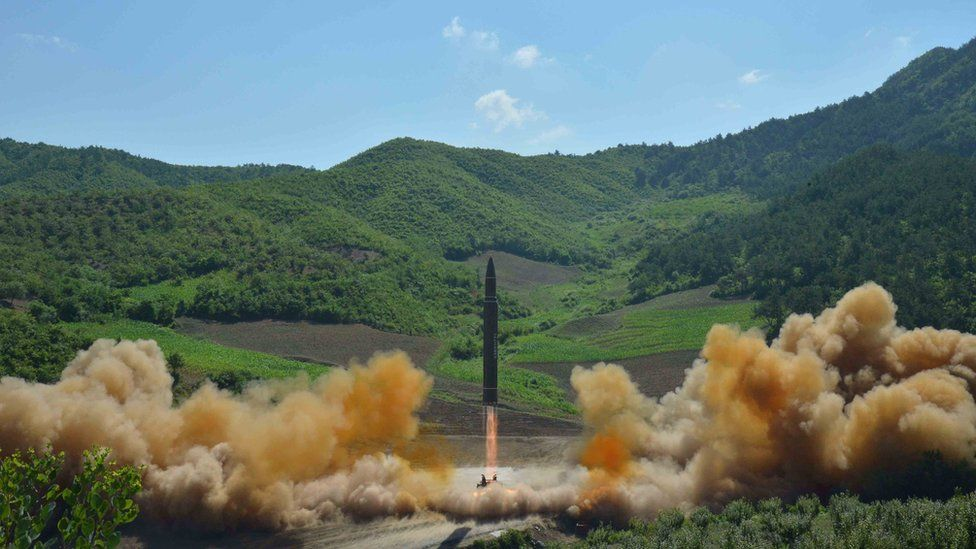 """The intercontinental ballistic missile Hwasong-14 is seen during its test launch in this undated photo released by North Korea""""s Korean Central News Agency (KCNA) in Pyongyang, July, 4 2017."""