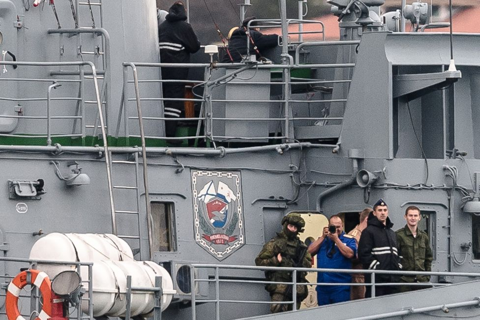 On the deck of the Filchenkov, someone wanted a shot of Yoruk Isik