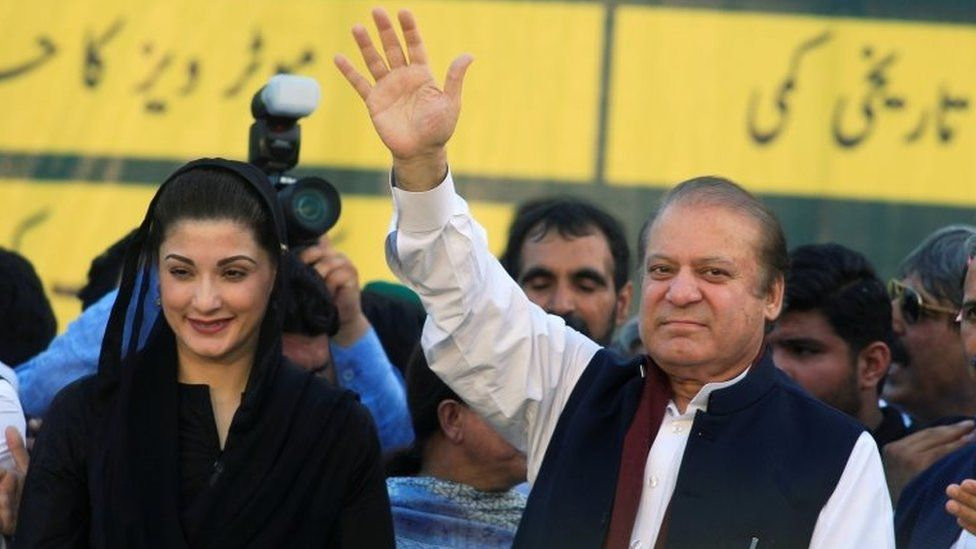 Sharif with his daughter Maryam Nawaz, who was also jailed for corruption in 2018, but who also had her sentence suspended