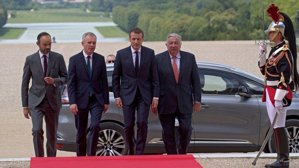 Macron arrives