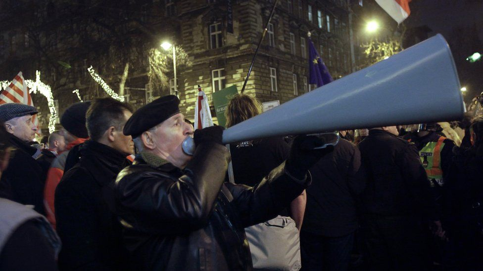 A supporter of of far-right Jobbik (Better) party in Budapest, Hungary in 2012
