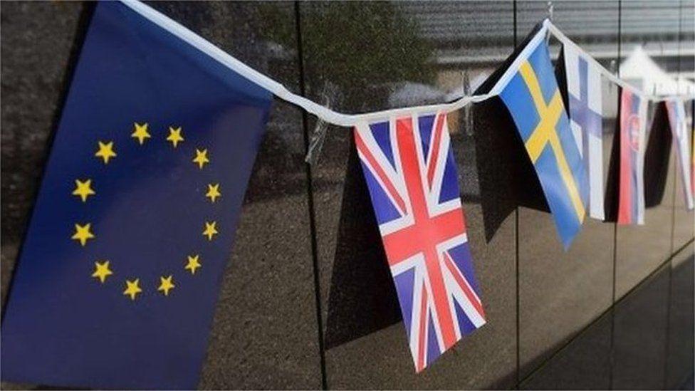 EU flags outside EU building