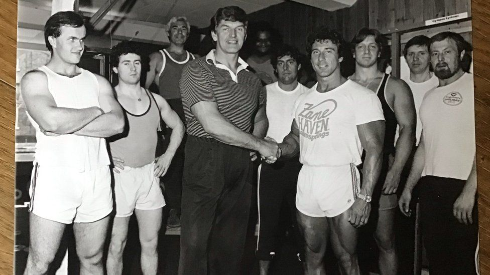 Dave Prowse with Frank Zane at his gym