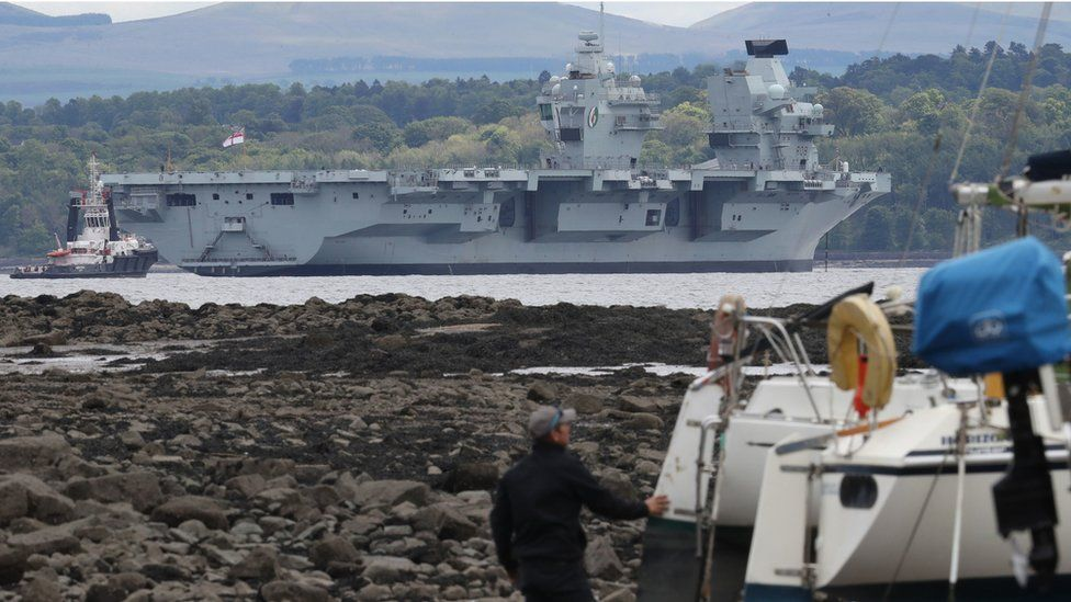 HMS Queen Elizabeth sits in the Firth of Forth on 22 May 2019
