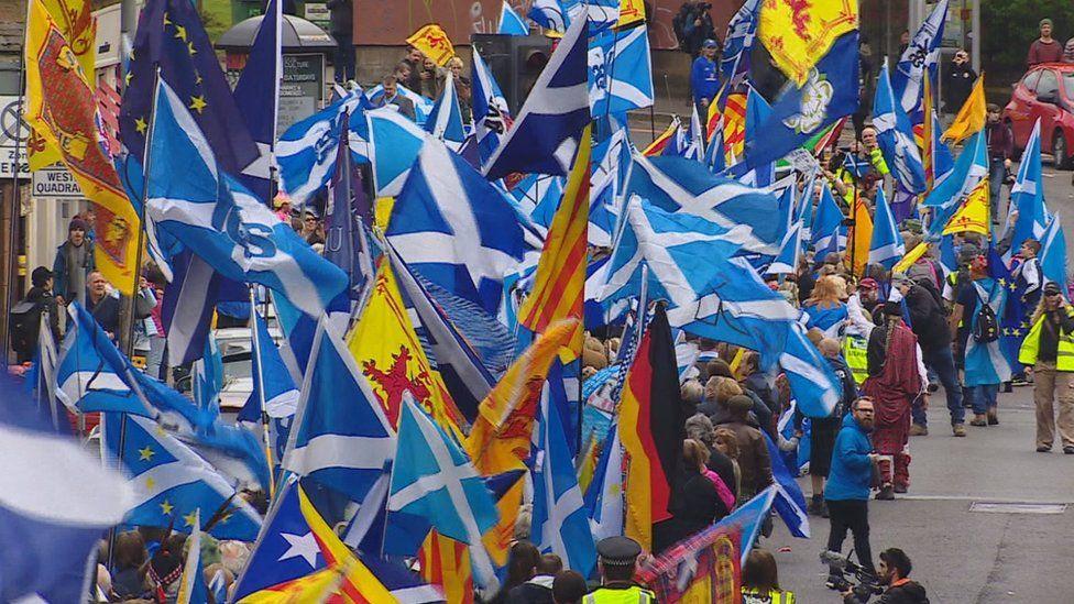 Flag on march in Glasgow