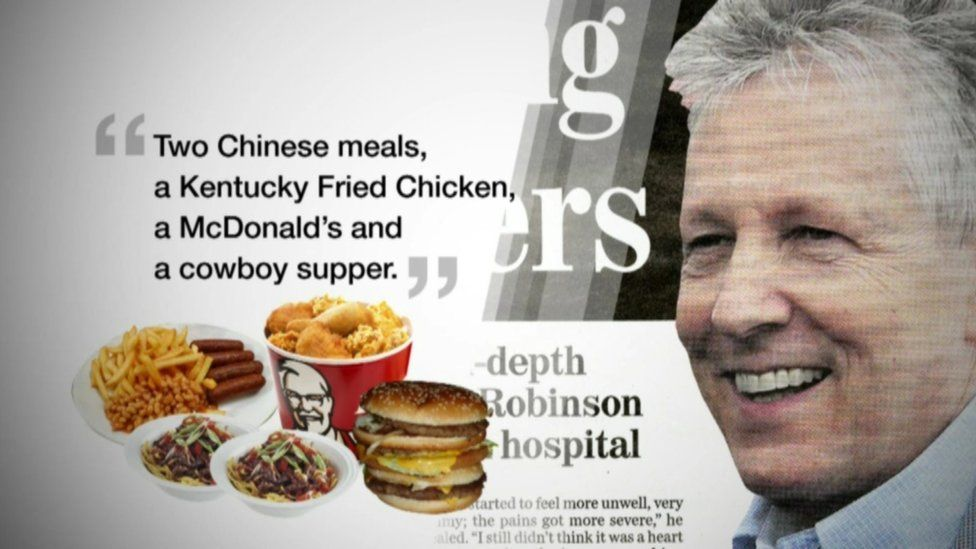 BBC graphic showing Peter Robinson's fast food diet