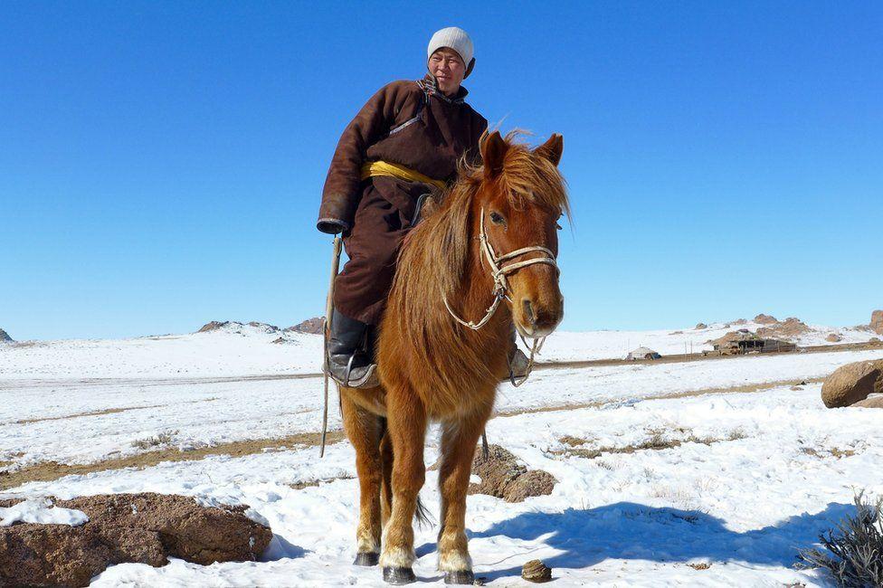 A herdsman on horse, on a snowy plain