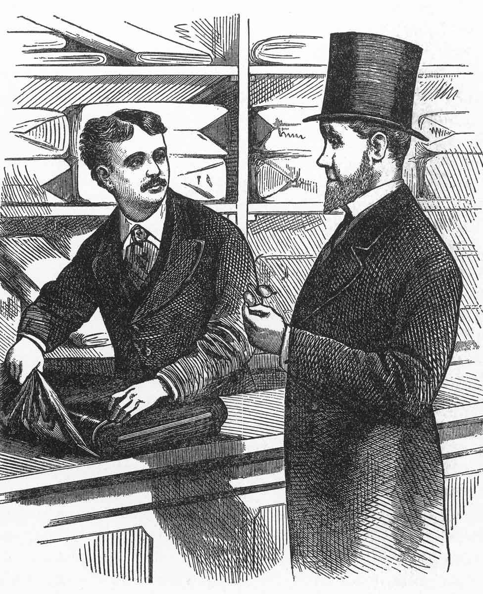 An engraving of Alexander T Stewart in his store in 1876
