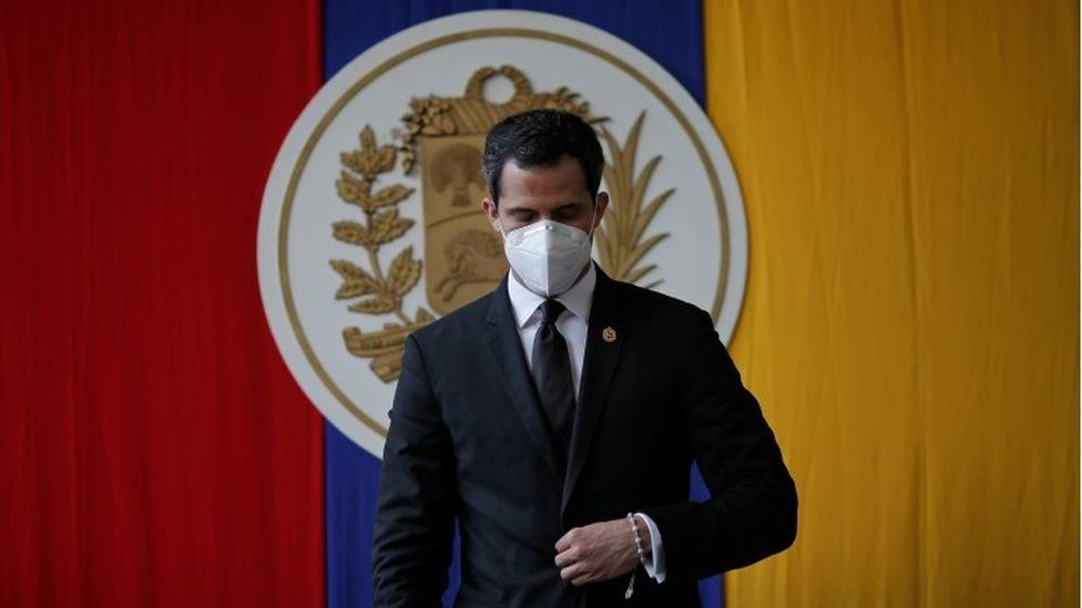 "Venezuela's opposition leader Juan Guaido attends a session of Venezuela""s National Assembly at a public park in Caracas, Venezuela December 15, 2020."