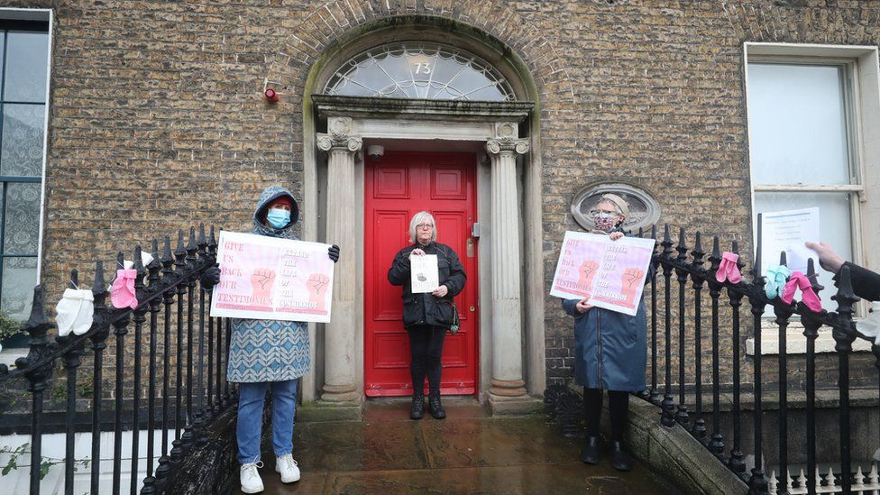 Protesters demonstrated outside the commission's Dublin headquarters earlier this month