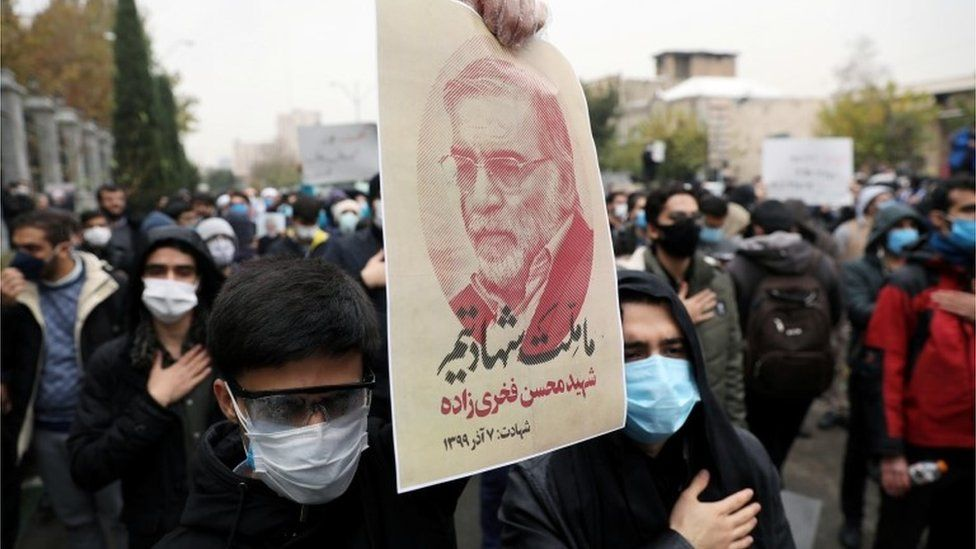 Iranian protesters demonstrate against the killing of nuclear scientist Mohsen Fakhrizadeh (Nov 2020)