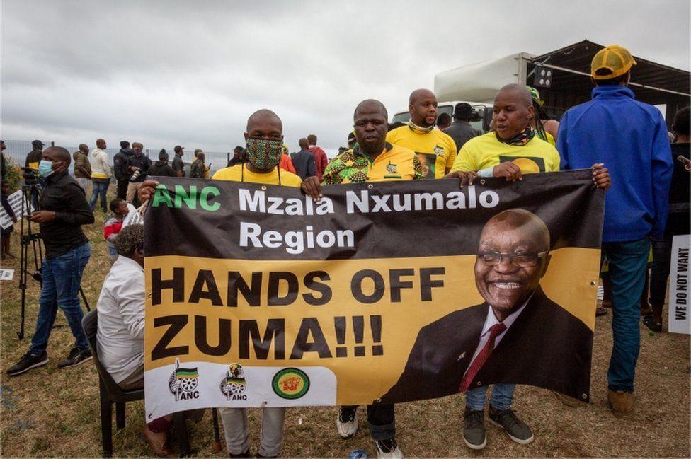 Supporters of Jacob Zuma gather near his home in Nkandla, Kwa-Zulu Natal, South Africa, 04 July 2021