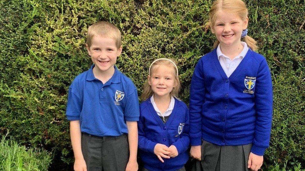 Simeon, 6, Amelia, 4 and Phoebe, 8