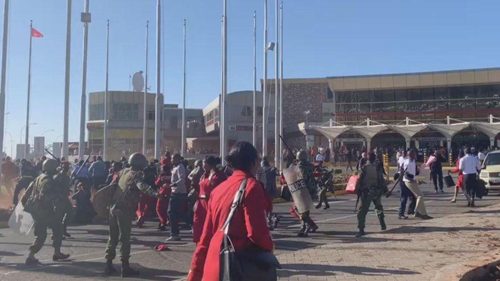 Riot police outside Nairobi airport