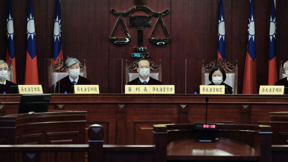 Taiwan Constitutional Court judges at the hearing on 7 May