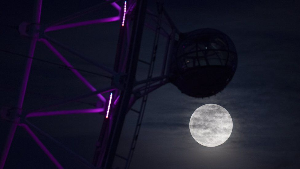 The Super Pink Moon rises next to the London Eye in London, Britain 07 April March 2020