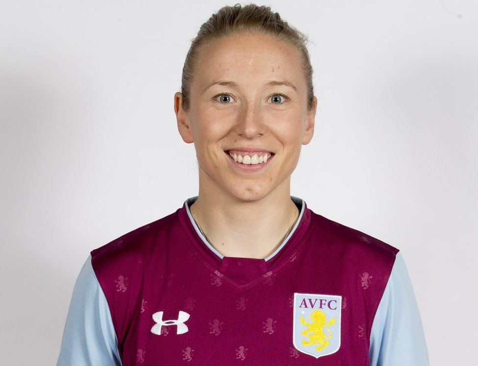 Katy Moran of Aston Villa Ladies in the club strip