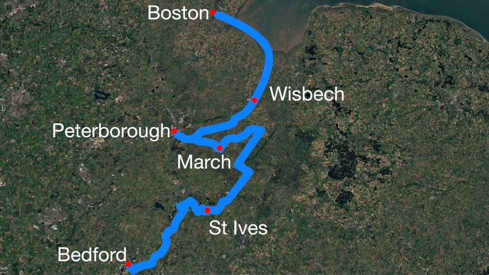 Route of narrow boat trip