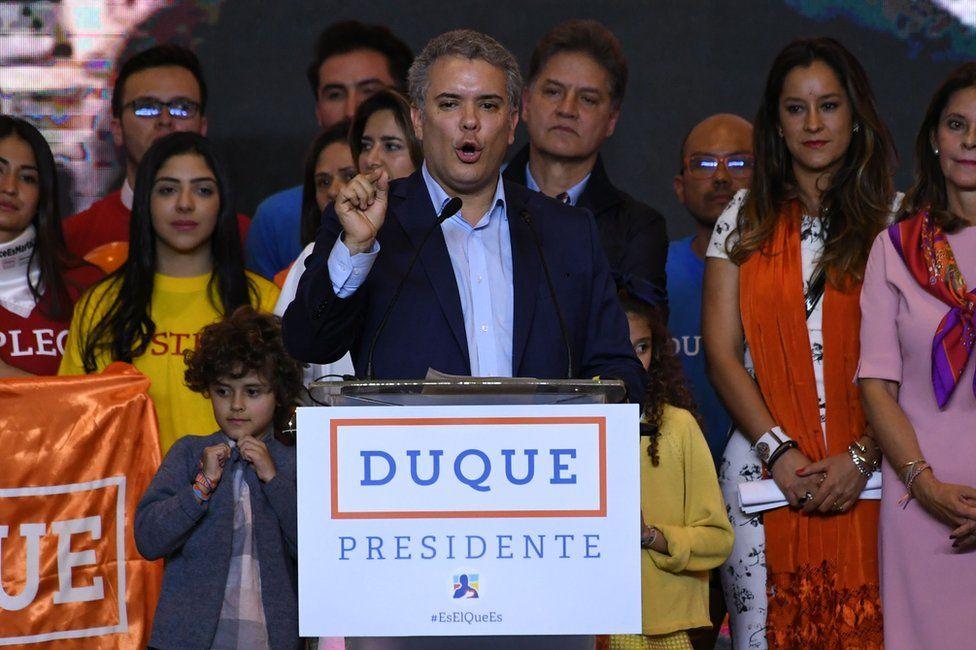 Ivan Duque in Bogota, 27 May