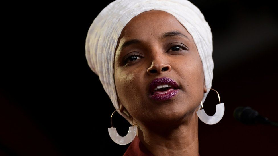 Ilhan Omar speaks at a news conference in July 2019