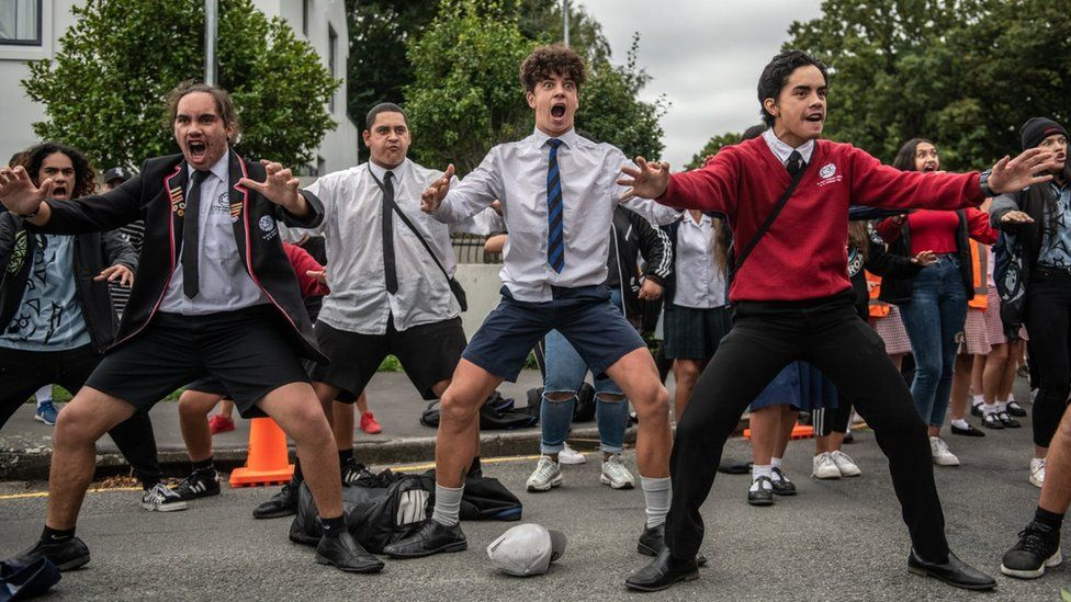 New Zealand school students performing the Haka