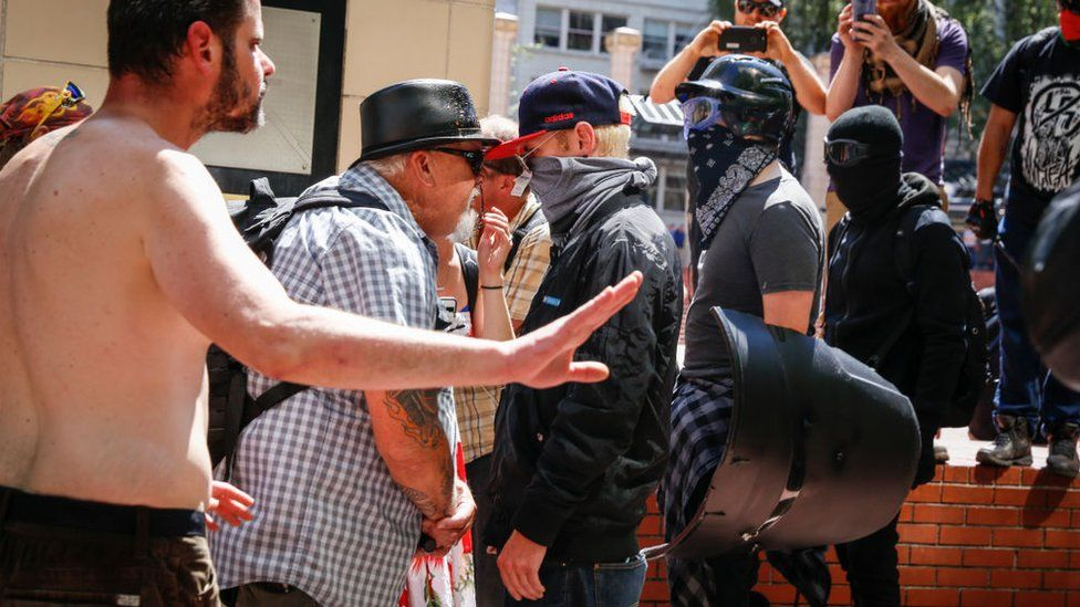 Activists from both the far right and left faced off in Portland on Saturday