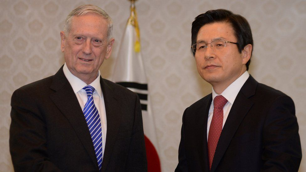 US defence secretary James Mattis (left) shakes hands with South Korea's acting President Hwang Kyo-ahn (right) in Seoul, South Korea, 2 February 2017