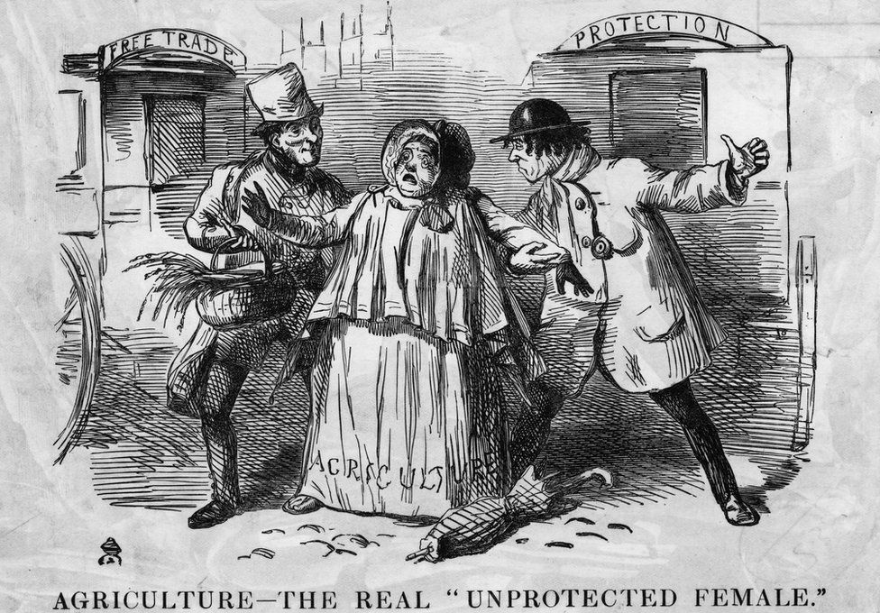 A cartoon showing a bucolic woman labelled 'Agriculture' being pestered by two man, 'Free Trade' and 'Protection'. Punch cartoon, 1846