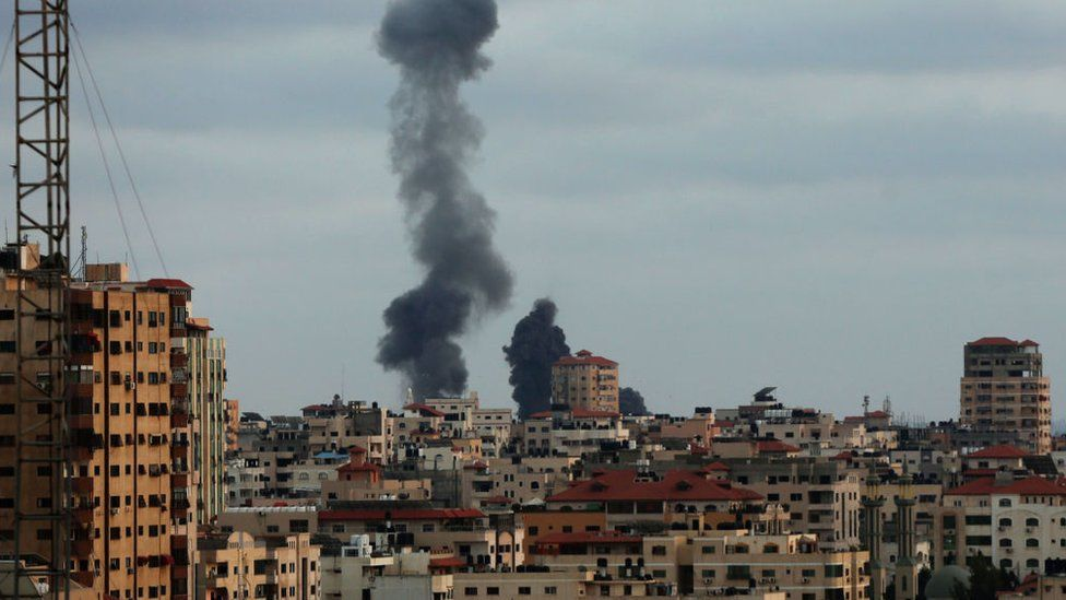 Smoke rises after Israeli army carried out airstrikes over Gaza City, Gaza
