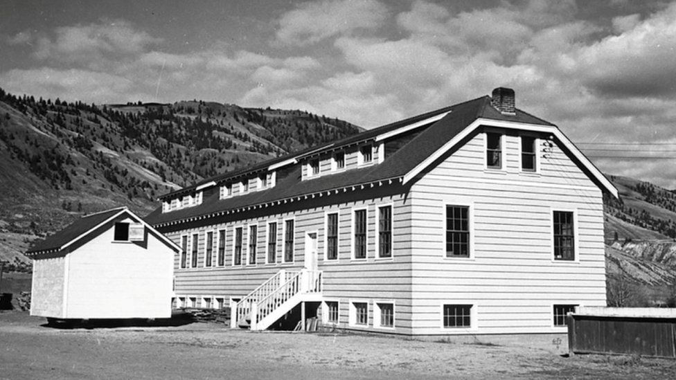 A new classroom building at the Kamloops Indian Residential School is seen in Kamloops, British Columbia, Canada circa 1950