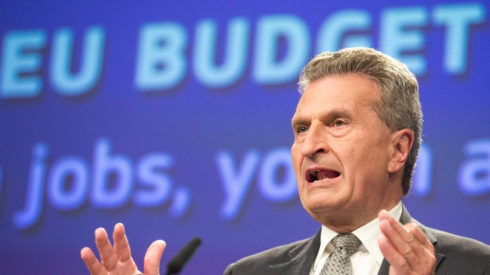 EU budget commissioner Guenther Oettinger holds a press conference at the EU Commission in Brussels, Belgium, on 30 May 2017