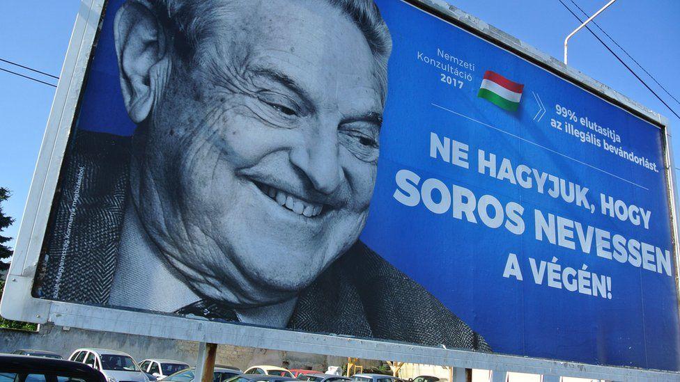 A billboard of George Soros pictured on July 6, 2017 in Szekesfehervar, Hungary