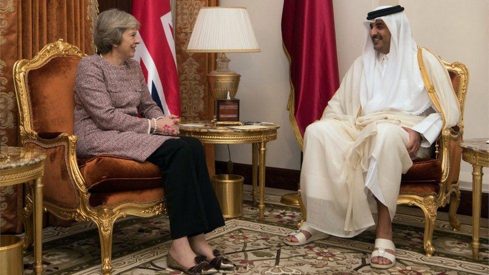 Theresa May meets Sheikh Tamim bin Hamad Al Thani, the Emir of Qatar, during a bilateral meeting
