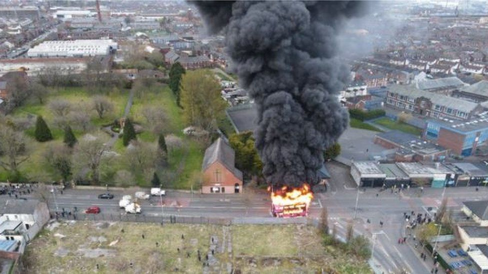 Drone footage shows the bus fire in the Shankill area