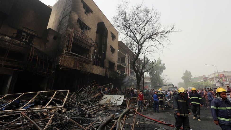 Site of suicide car bombing on July 3, 2016 in Baghdad's central Karrada district