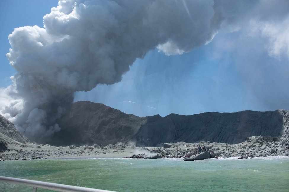 New Zealand's White Island spewing steam and ash