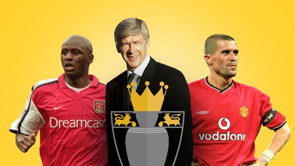 Patrick Vieira (left), Arsene Wenger (centre) and Roy Keane (right)