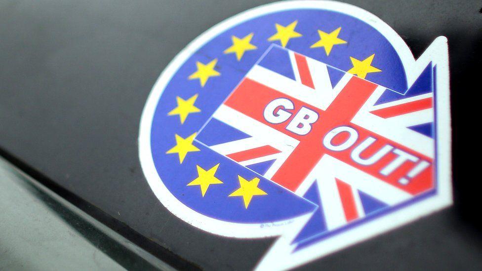 UKIP anti-EU sticker on car, 2013