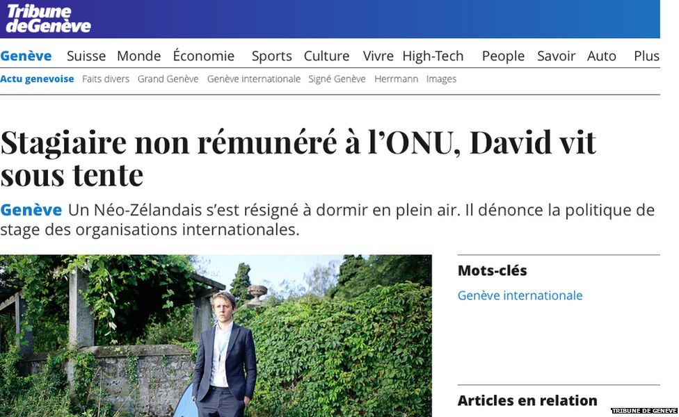 Front page of Tribune de Geneve newspaper, with story of UN intern living in a tent