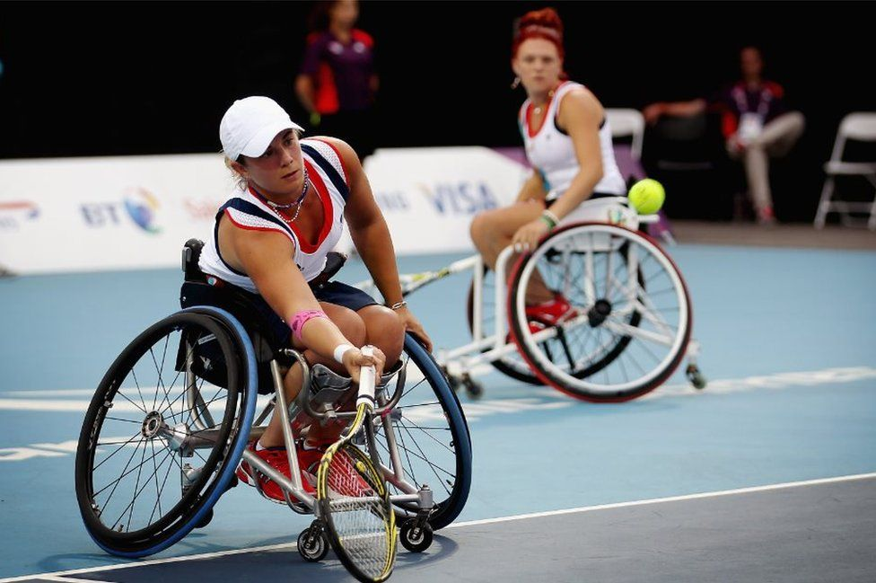 Lucy Shuker (L) and Jordanne Whiley (R) compete in the Women's Doubles Wheelchair Tennis at London 2012 Paralympic Games