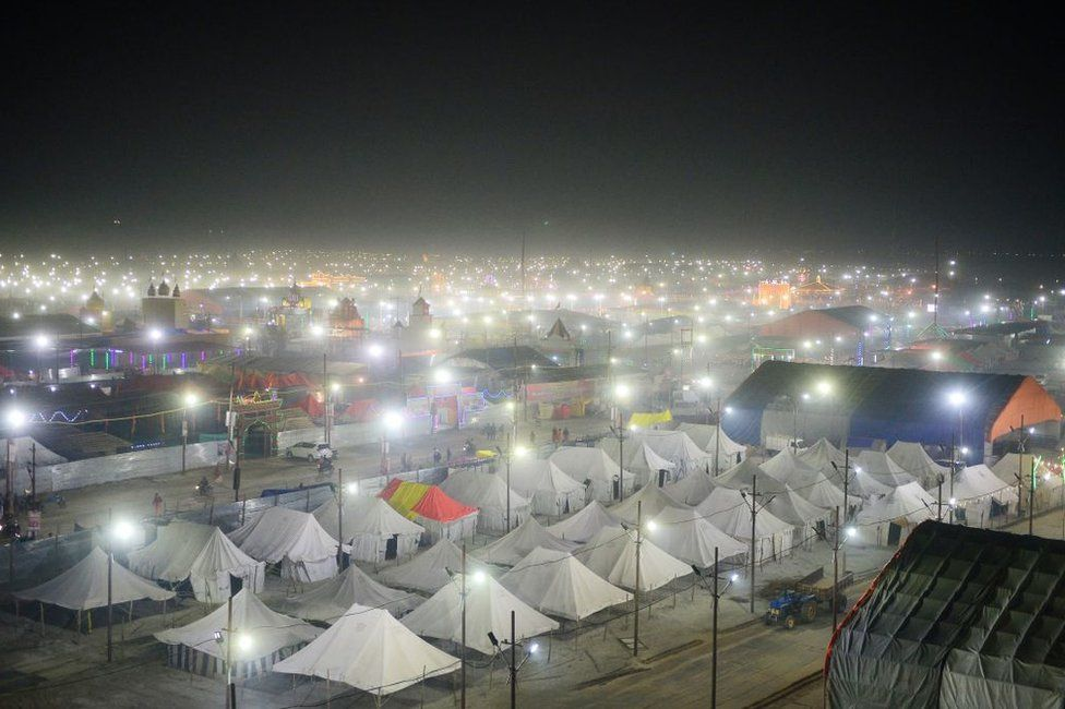 Tents are pitched on the banks of Sangam, the confluence of the Ganges, Yamuna and mythical Saraswati rivers, for the upcoming Kumbh Mela festival in Allahabad on January 9, 2019.