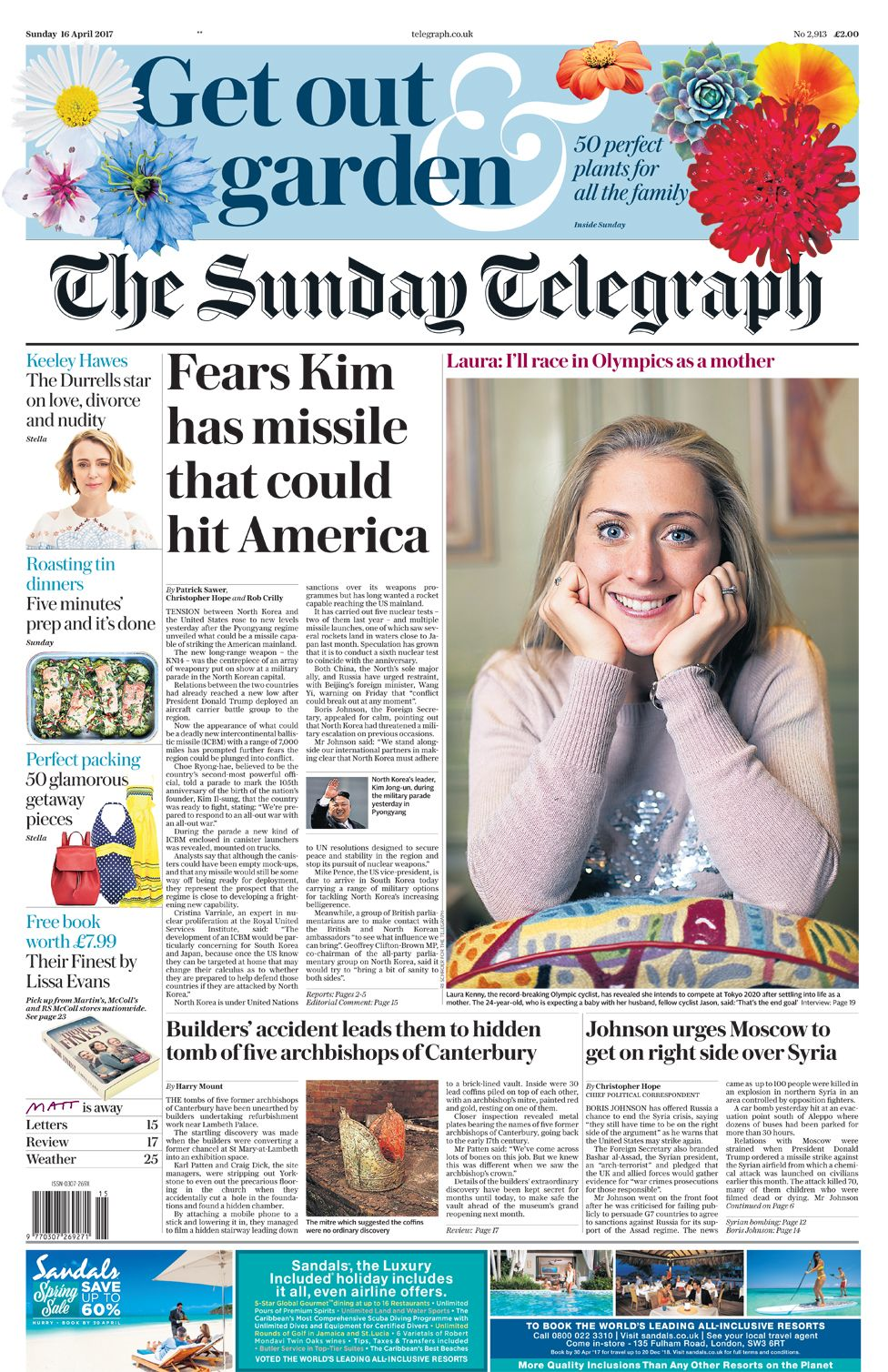 Sunday Telegraph front page - 16/04/17