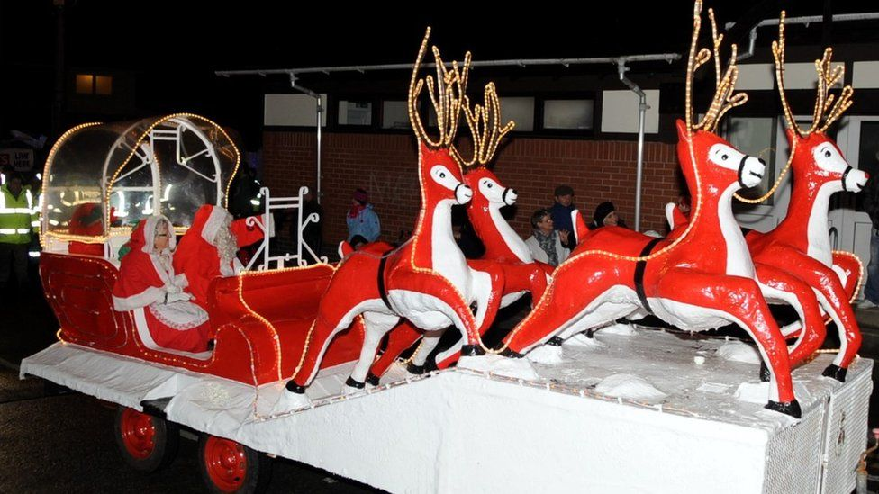 Santa's sleigh in Swansea
