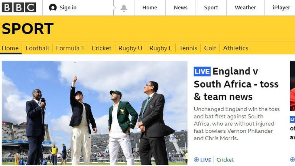 BBC Sport front page